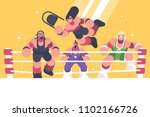 strong and powerful wrestlers... | Shutterstock .eps vector #1102166726