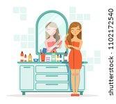 happy woman combing hair a... | Shutterstock . vector #1102172540