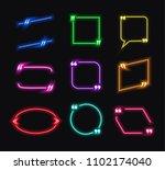 vector set of neon glowing talk ... | Shutterstock .eps vector #1102174040