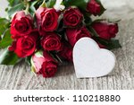 red roses and heart for valentines day - stock photo