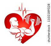 athlete with dumbbells and...   Shutterstock .eps vector #1102189328