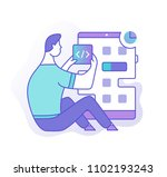 man putting new application to... | Shutterstock .eps vector #1102193243