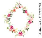 wedding frame wreath green and... | Shutterstock . vector #1102198220