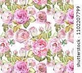 flowers pattern wirh pink roses.... | Shutterstock . vector #1102207799