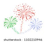 Vector Drawn Fireworks Isolate...