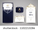 wedding invitation or greeting... | Shutterstock .eps vector #1102213286