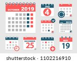 set of different calendars with ... | Shutterstock .eps vector #1102216910