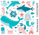 Vector Set Of Underwater...