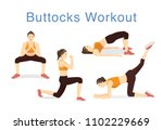 4 moves to lift buttocks with... | Shutterstock .eps vector #1102229669