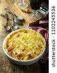 homemade shepherd's pie with... | Shutterstock . vector #1102245536