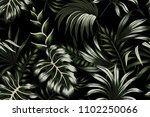 tropical dark green palm leaves ... | Shutterstock .eps vector #1102250066