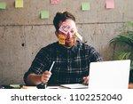 crazy business man in office. | Shutterstock . vector #1102252040