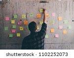 business man looking message on ...   Shutterstock . vector #1102252073