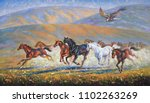 Stock photo  a large eagle over the running herd of horses an oil painting on canvas author nikolay sivenkov 1102263269