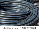 water hdpe black pipes placed... | Shutterstock . vector #1102270373
