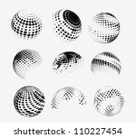 collection of halftone sphere... | Shutterstock .eps vector #110227454