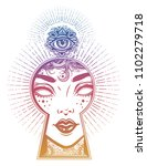 occult psychic woman seeing... | Shutterstock .eps vector #1102279718