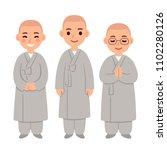 cute cartoon buddhist monks  in ... | Shutterstock .eps vector #1102280126