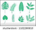 tropical leaves set on white... | Shutterstock .eps vector #1102280810