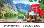 lake landscape with big... | Shutterstock . vector #1102281209