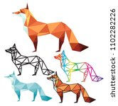 fox and wolf polygon logo... | Shutterstock .eps vector #1102282226