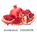 ripe pomegranate fruit isolated ... | Shutterstock . vector #110228558