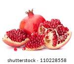 ripe pomegranate fruit isolated ... | Shutterstock . vector #110228558
