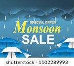 monsoon season sale. raining... | Shutterstock .eps vector #1102289993