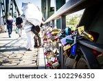 Padlocks On A Bridge Symbol Of...