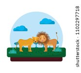 adorable lion couple animal in... | Shutterstock .eps vector #1102297718