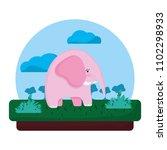 adorable elephant wild animal... | Shutterstock .eps vector #1102298933