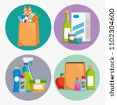 supermarket set products with... | Shutterstock .eps vector #1102304600