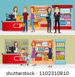 supermarket shelvings with...   Shutterstock .eps vector #1102310810