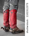 red boots with spurs and well... | Shutterstock . vector #1102312373
