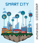 smart city on floating island... | Shutterstock .eps vector #1102313069