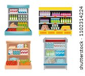 supermarket shelvings with... | Shutterstock .eps vector #1102314224
