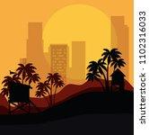 miami beach cityscape scene | Shutterstock .eps vector #1102316033