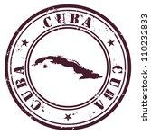 cuba stamp | Shutterstock .eps vector #110232833