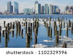 ice floes in the hudson river... | Shutterstock . vector #1102329596