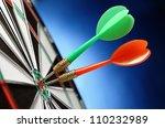 darts arrows in the target... | Shutterstock . vector #110232989