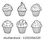 muffin set simple illustration .... | Shutterstock .eps vector #1102336220