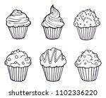 muffin set simple illustration .... | Shutterstock .eps vector #1102336220