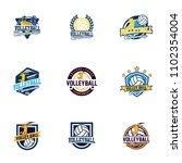 set of volleyball badge design... | Shutterstock .eps vector #1102354004