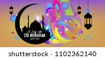 eid mubarak greeting card... | Shutterstock .eps vector #1102362140