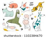 hand drawn cartoon style dogs.... | Shutterstock .eps vector #1102384670