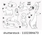 hand drawn cartoon style dogs.... | Shutterstock .eps vector #1102384673