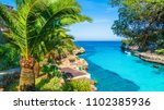 palm tree and turquoise water... | Shutterstock . vector #1102385936