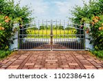 chrome fence gate. stainless... | Shutterstock . vector #1102386416