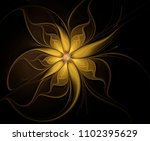 fractal gold flower on a black... | Shutterstock . vector #1102395629