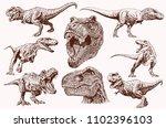 graphical set of dinosaurs... | Shutterstock .eps vector #1102396103